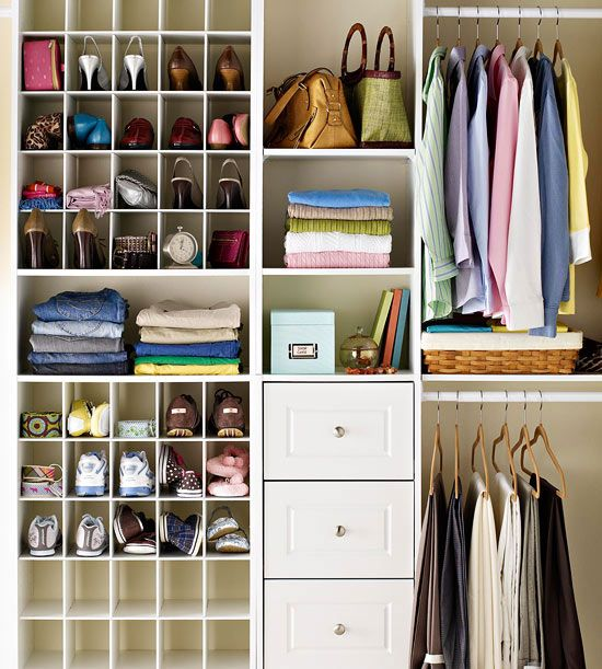 18 Classy Closet Storage Solutions For Your Clothes: Shoe Organization Doubles As A Spot For Purses, Scarves