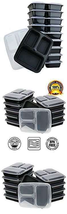 Disposable Plates With Lids. ChefLand 3-Compartment Microwave Safe Food Container with Lid/Divided Plate/Bento Box/Lunch Tray with Cover, Black, 10-Pack.  #disposable #plates #with #lids #disposableplates #plateswith #withlids