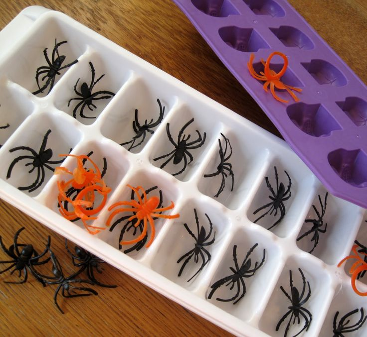 Ice cubesHalloween Parties, Halloween Drinks, Fall Halloween, Icecubes, Ice Cube Trays, Spiders Ice, Plastic Spiders, Halloween Ideas, Ice Cubes Trays