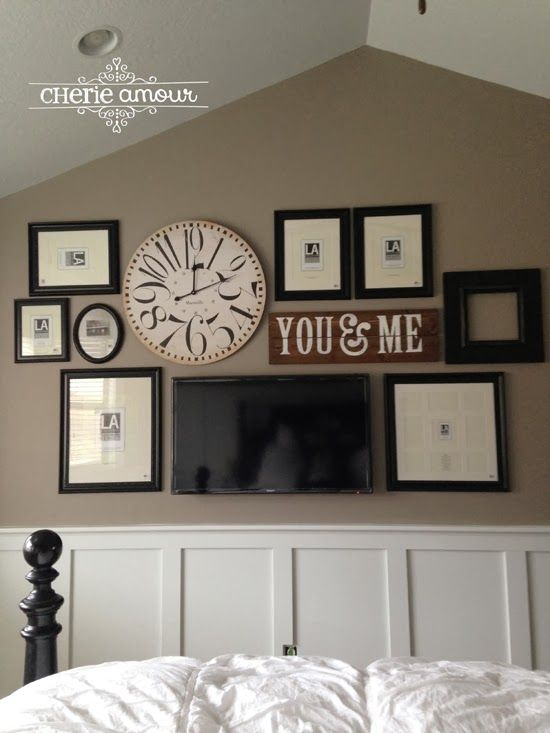 Bedroom Wall Collage With Frames Clock Sign Makes The Tv Seem Less Visible