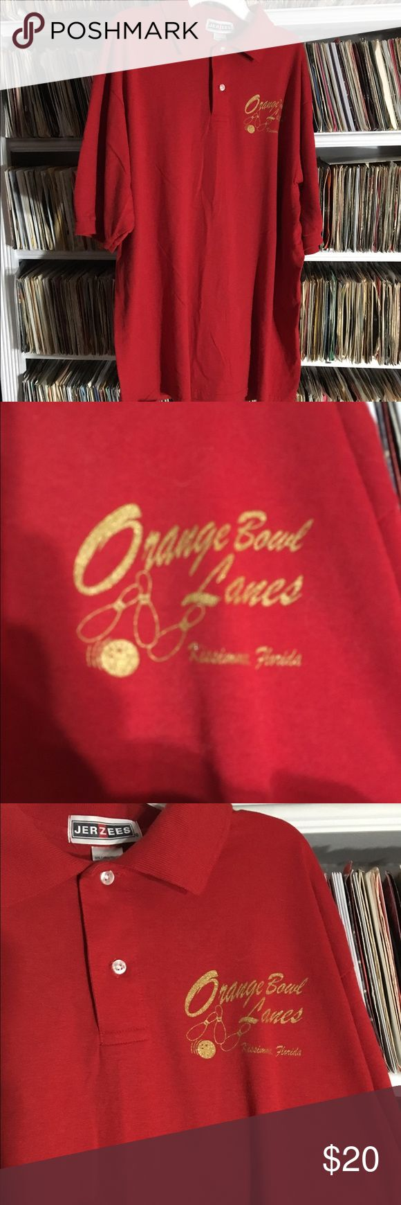 Orange Bowl Lanes Kissimmee Florida polo shirt Vintage bowling polo shirt from kissimmee Florida. It's in good shape. Nice glittery gold graphics. Vintage Shirts Polos