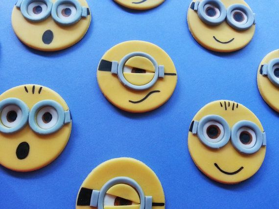 1 DOZ Despicable Me Inspired Fondant Cupcake/Cookie Toppers on Etsy, $20.00