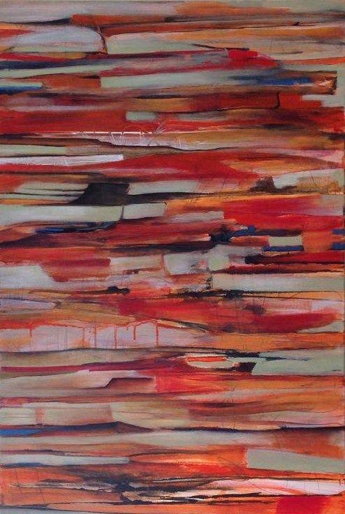 #Mixed Media#Canvas#Strata#Orange#Abstract