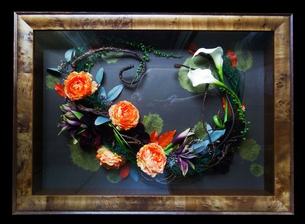 Artificial Flowers in a frame by Kent Florist Mikiko Inoue
