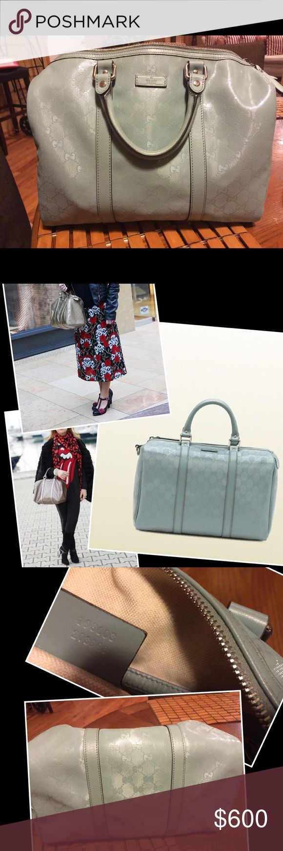"""Gucci Sky GG Imprime Coated Canvas Joy Boston bag Authentic Gucci Sky Blue GG Imprime Coated Canvas Medium Joy Boston Bag; Gucci vinyl Hard to find item!! In great condition, almost new. Does not come with certificate, 100% authentic.   Material: Metallic blue GG coated canvas with smooth leather trim Origin: Italy Measurements: 13"""" L x 7"""" W x 8.75"""" H Interior Pockets: One patch pocket Handles: Double rolled patent leather handles Handle Drop: 4.5"""" Closure/Opening: Single zip closure…"""