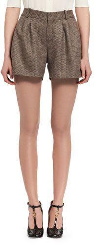 Chloé Fantasy Tweed Shorts, Beige