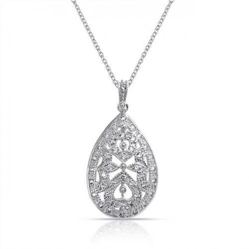 Bling Jewelry CZ Vintage Bridal Teardrop Pendant Necklace 925 Silver