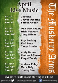 Our live music lineup for April.