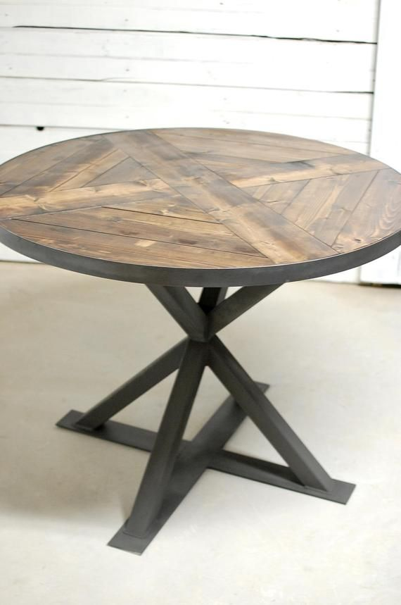 Industrial Round Wood Dining Table Industrial Round Dining Table