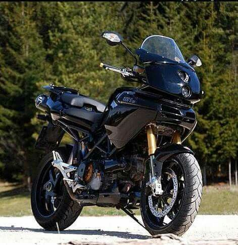 Ducati Multistrada with 999 headlights grafted into fairing.