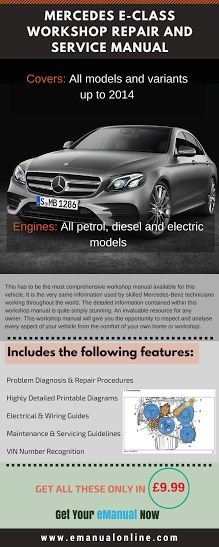 Mercedes E-Class Workshop Repair And Service Manual. This workshop manual will give you the opportunity to inspect and analyse every aspect of your vehicle from the comfort of your own home or workshop.