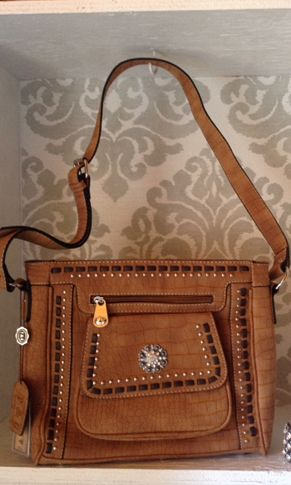 Crocodile Textured Concho Messenger Bag
