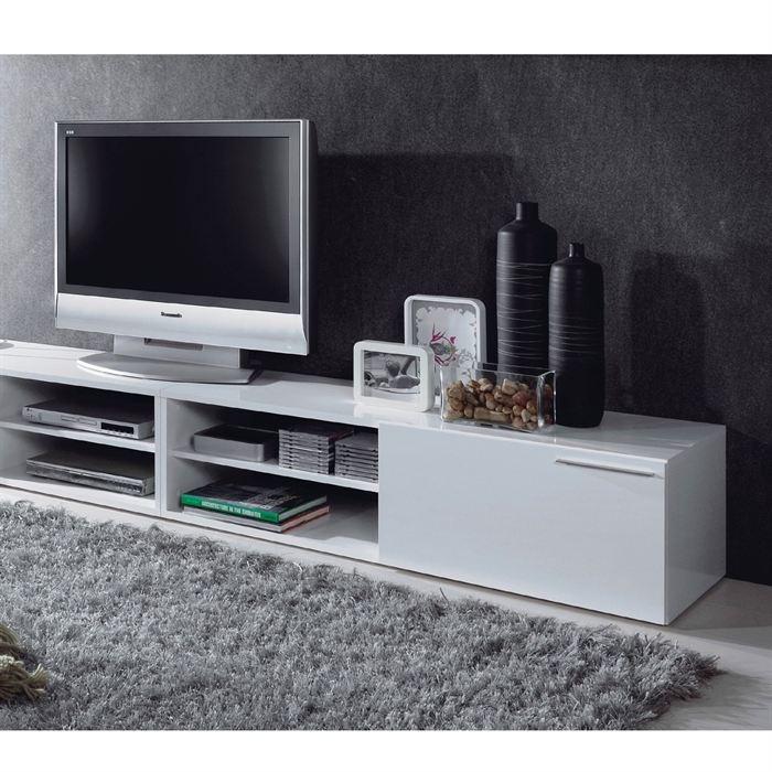 KIKUA Meuble TV Blanc brillant - en panneaux de particules, revêtement mélaminé - 1 porte battante - Dimensions : 130 x 42 x 35 -