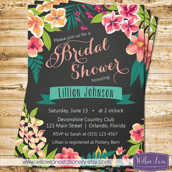Chalkboard Tropical Bridal Shower Invitation - Island Flowers Hawaiian Luau Bridal Shower Invite - Wedding Shower - 1395 PRINTABLE