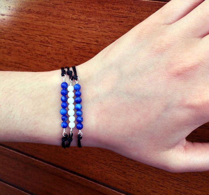 Bracelets, set of 3,  sterling silver bracelets, semi precious beads, black waxed silk cord, stackable bracelets, adjustable, jewelry by Tmlccreations on Etsy