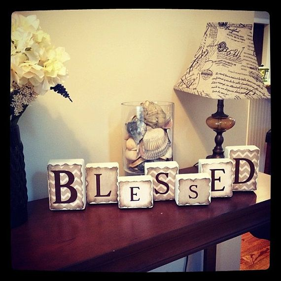 "CUSTOMIZE your own --Decorative Wood Blocks! ""BLESSED"" (white wood, chevron and beige paper antiqued with brown stencil) on Etsy, $15.50"
