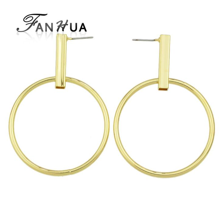 Gold-Silver Color Statement Round Circle Geometric Big Drop Earring