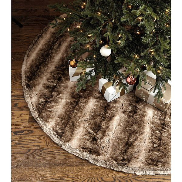 Ballard Designs Faux Fur Tree Skirt Brown featuring polyvore, home, home decor, holiday decorations, brown, christmas stockings, brown christmas stockings, ballard designs christmas stockings, faux fur christmas stocking and christmas holiday decor