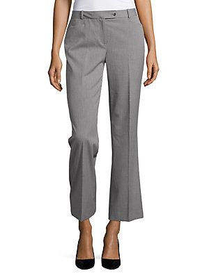 Calvin Klein - Petite - Modern Fit Pinstriped Pants in tin cream grey | classic sophistication with timeless pinstripes, belt loops, button and hook and bar waistband.  Inseam about 29 inches.