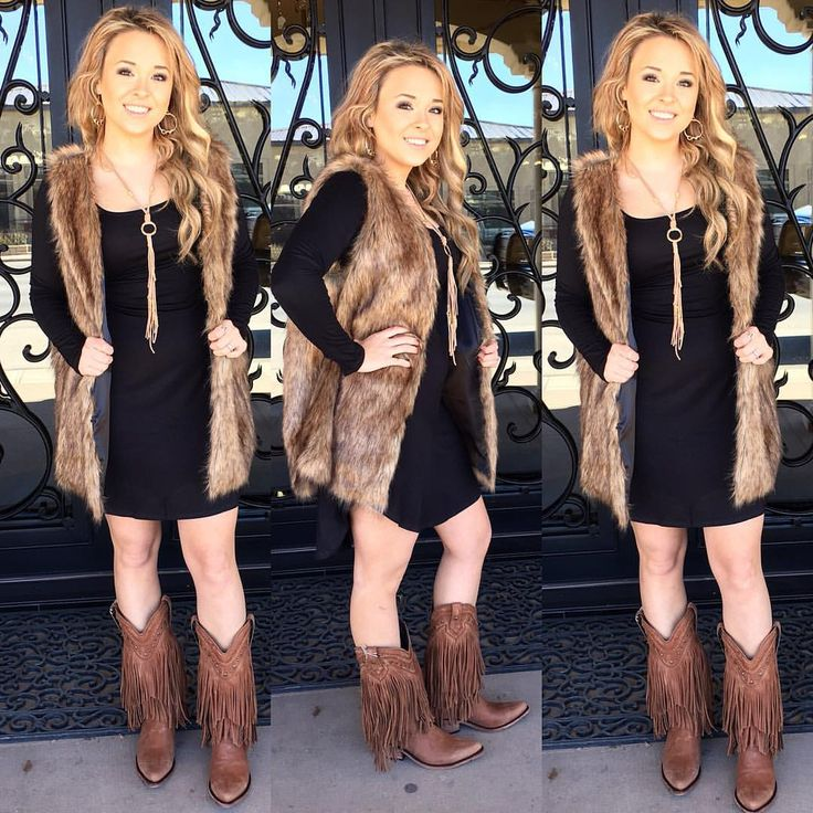 So if you don't have this in your WARDROBE YOURE MISSING OUT  Black Basic Dress 2SM, 1MD $35  Perfect for LAYERING, Runs True  Tan & Black Mix Vest $48 S/M, M/L  Model wearing S/M with Clasps in front  Tassel Necklace $28  Vegas Fringe Boots Liberty Black $349