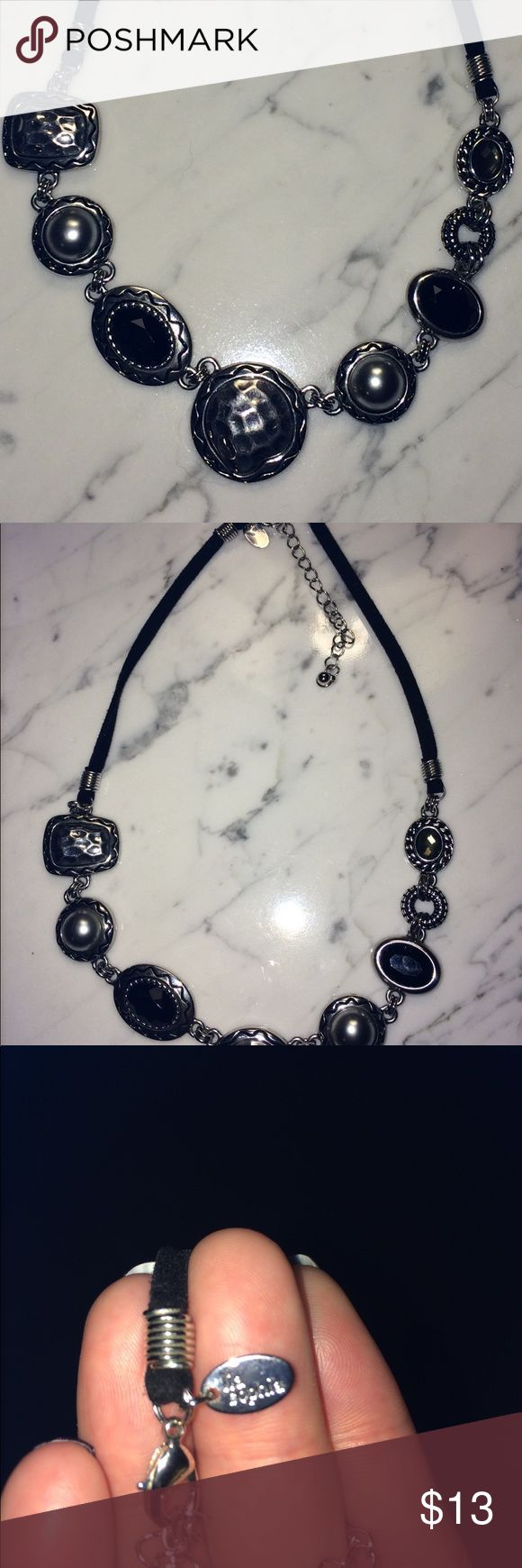 Lia Sophia silver and black adjustable necklace Lia Sophia silver and black adjustable necklace. Almost new, only wear a few time.  OFFERS WELCOMED!!!!!!  Lia Sophia Jewelry Necklaces