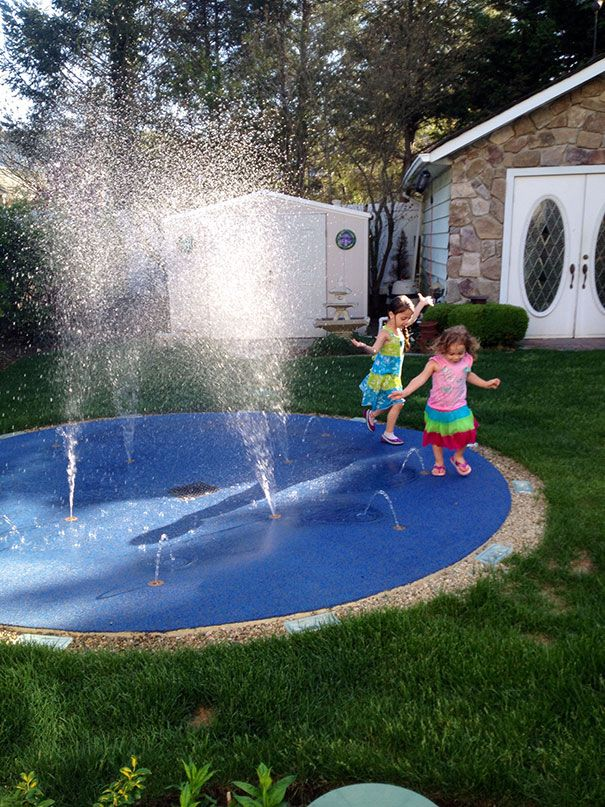 the girls did not bother even changing so they could get to the splash pad with