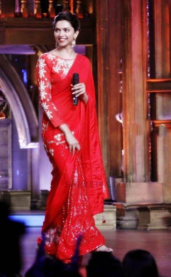 deepika-padukone-red-embellished-saree-sets-of-zee-cine-star-ki-khoj.