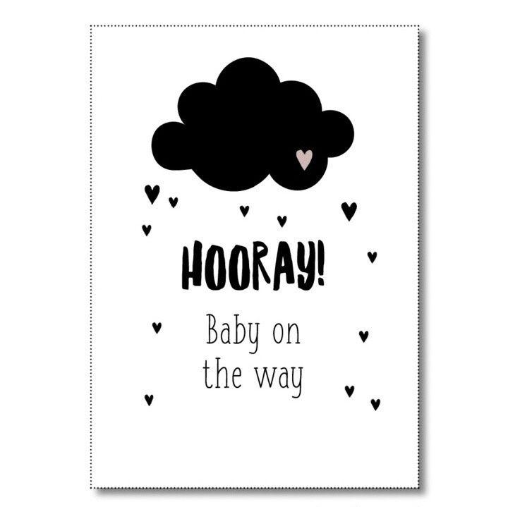 Kaart HOORAY Baby on the way Ansichtkaart met tekst HOORAY Baby on the way. De kaart is geprint op dik kaartpapier met ruwe matte uitstraling.  Op de achterzijde is ruimte voor een adres en een persoonlijke boodschap. Leuk om te versturen, maar ook om op te hangen in een lijstje of met tape aan de muur! Ontwerp: Miekinvorm.