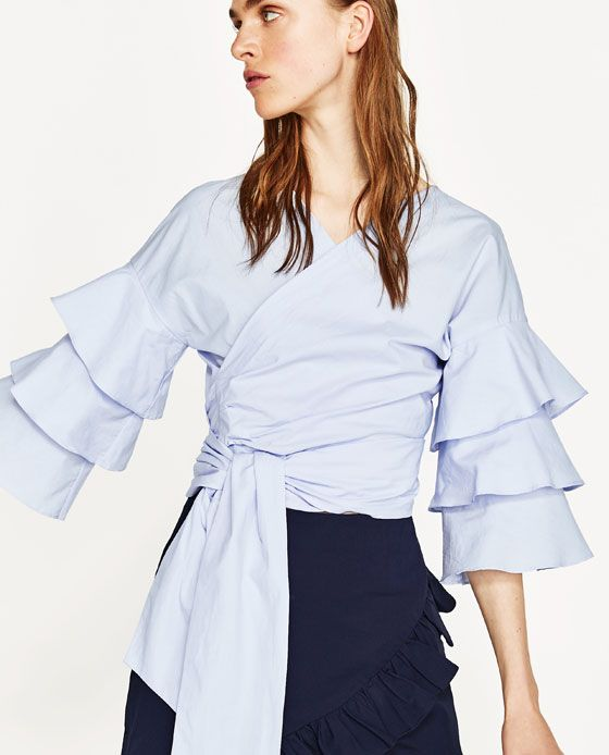 Image 2 of BLOUSE WITH BOW AND RUFFLED SLEEVES from Zara