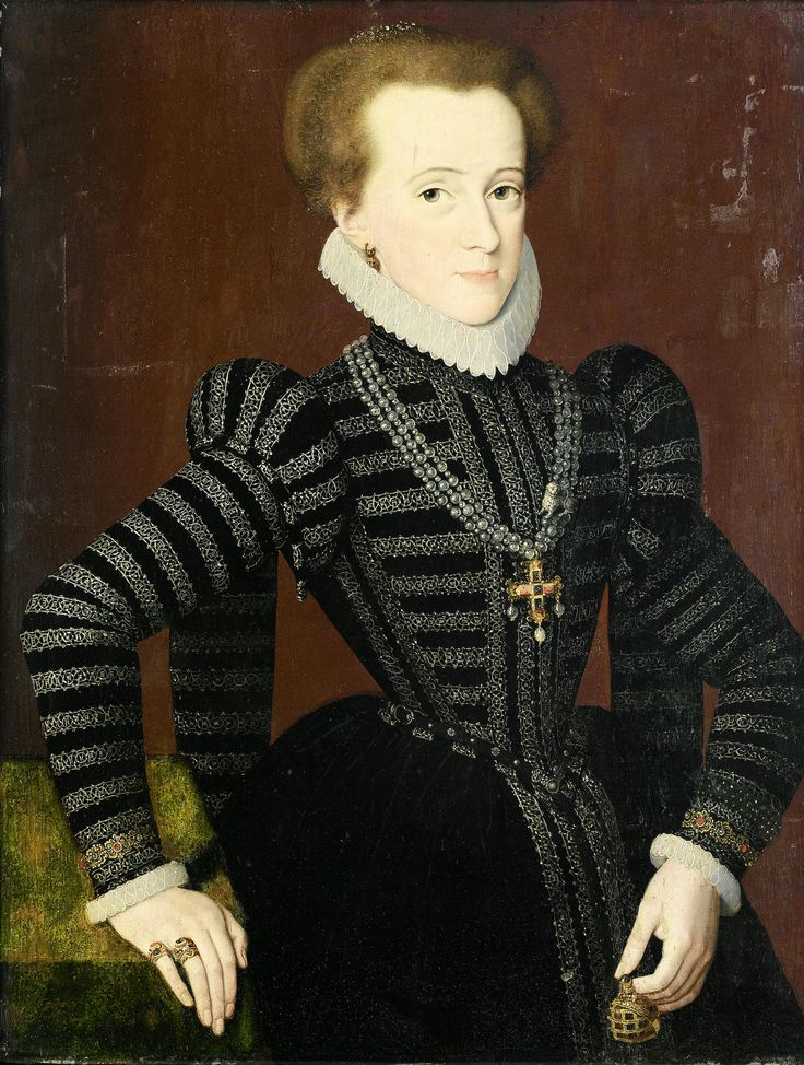 Pieter Jansz. Pourbus. Portrait of a Lady in Black. High resolution with cool details of belt (not just a chain!), and embroidery. Also child style hanging sleeves. Not sure what's up with that.