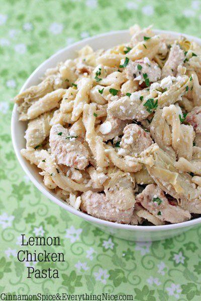 Lemon Chicken Pasta w/ Artichokes & Feta