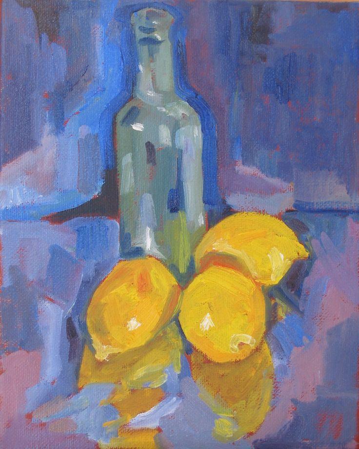 Lemons and bottle