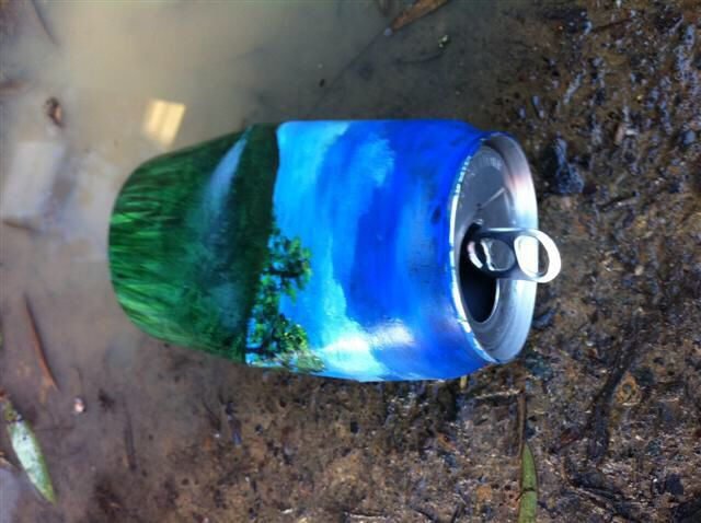 Recycle aluminum cans by painting a landscape