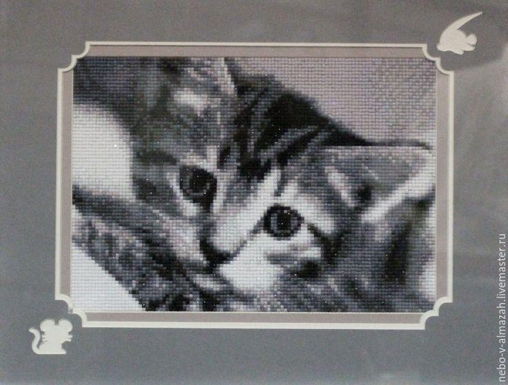 Купить Алмазная вышивка «Черно-белый кот», 27 х 19 см - алмазная вышивка, алмазная мозаика