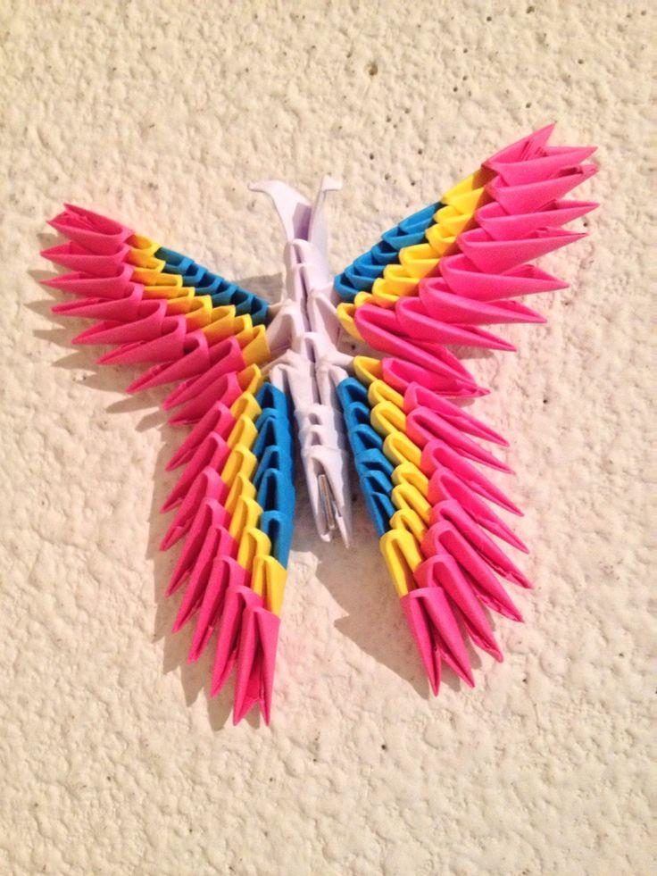 Joli papillon multicolore en origami modulaire ou 3D : Décorations murales par mes-bracelets-shamballas