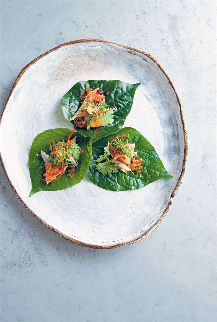 Betel leaves with smoked trout, galangal and trout roe