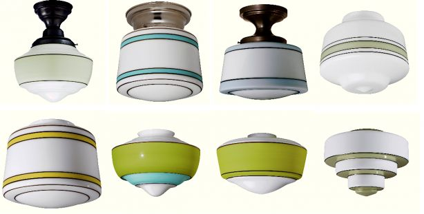 schoolhouse electric hand-painted flush mount lights