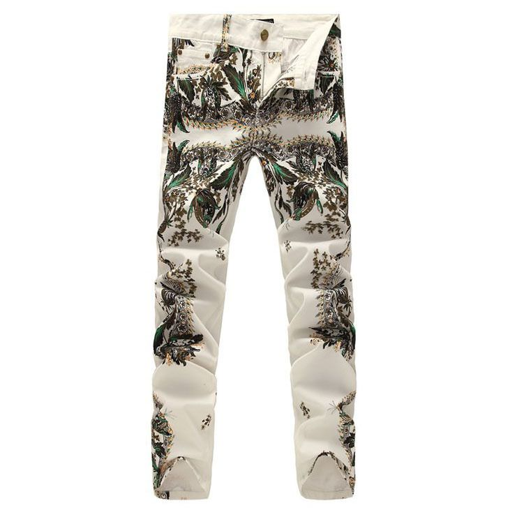 Мода COOL мужской тонкий цветной рисунок прямые джинсы мужские джинсовые цветок белые брюки окрашенные шаблон печати джинсы Бесплатная доставка