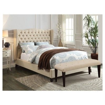 Faye California King Bed-Beige Linen and Espresso-Acme, Beige