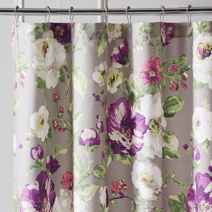 Misted Blooms Shower Curtain Gray