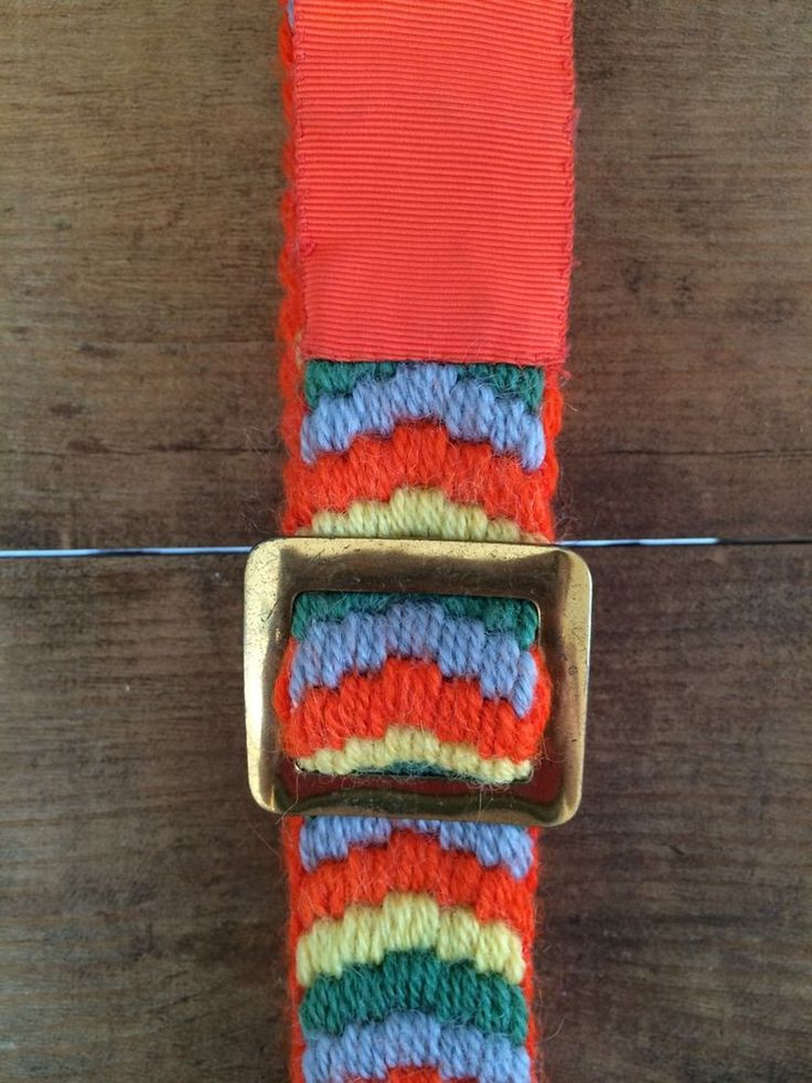 True Vintage - Late 60s/ Early 70s - Orange Embroidered Wool Belt - Boho/ Hippy