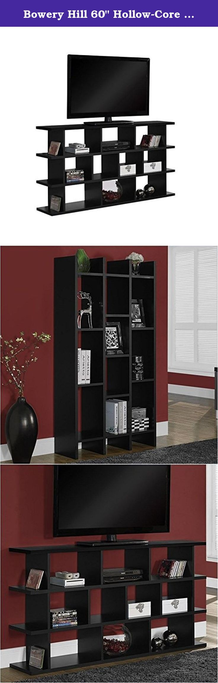 """Bowery Hill 60"""" Hollow-Core Horizontal-Vertical TV Stand in Black. This bold contemporary """"shift"""" etagere / TV console will add a stylish storage solution to your living room, office, or hallway. This versatile piece that can be used upright as a bookshelf or on its side as a TV console is finished in a stylish black. Thick hollow-board side panels and clean lines complete this sleek look. Open shelves offers space for books, decorative items, or AV equipment. Features: Color: black;..."""