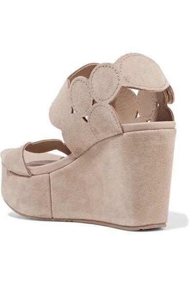 Pedro Garcia - Dyane Suede Wedge Sandals - Neutral - IT39.5