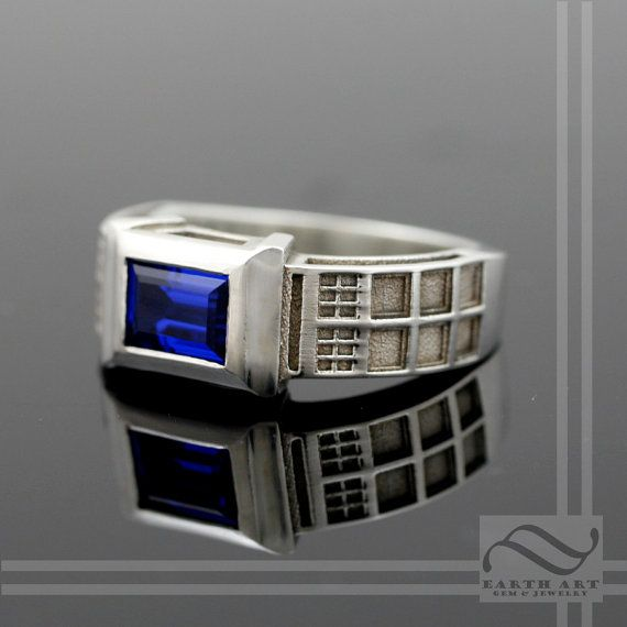 TARDIS Ring Solid Sterling Silver With Lab by mooredesign13
