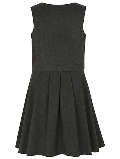 For a varied school uniform wardrobe, try this traditional, classic school pinafore dress, featuring a pretty flared skater skirt and bow detail at the waist...