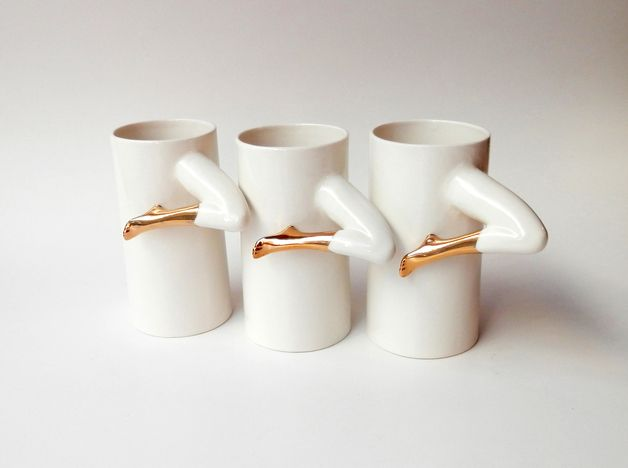 via en.dawanda.com Mugs – Ceramic Mugs with gold – a unique product by Barbara-Sniegula on DaWanda