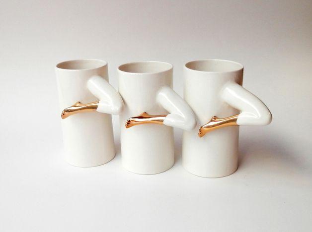 via en.dawanda.com Mugs – Ceramic Mugs with gold – a unique product by Barbara-Sniegula on DaWanda