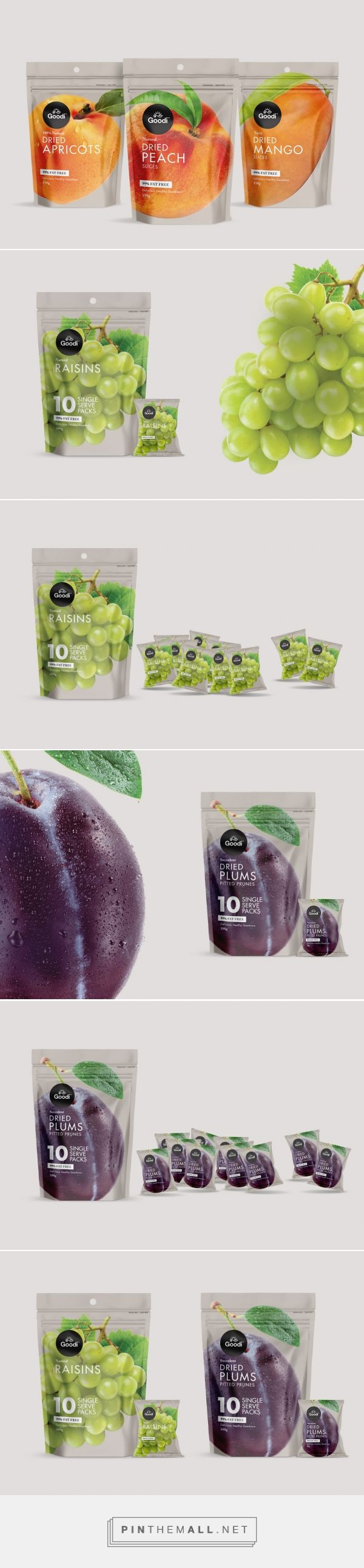 Goodi Dried Fruit packaging design by Redfire - http://www.packagingoftheworld.com/2017/08/goodi-dried-fruit-pouches.html