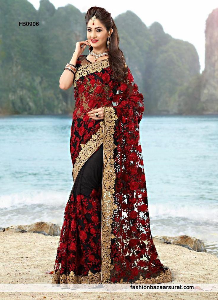 Exclusive Net Black Designer Party Wear Saree