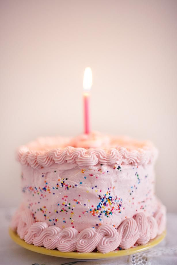 Pink frosting and sprinkles make for the best birthday.